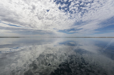 Clouds reflected in water