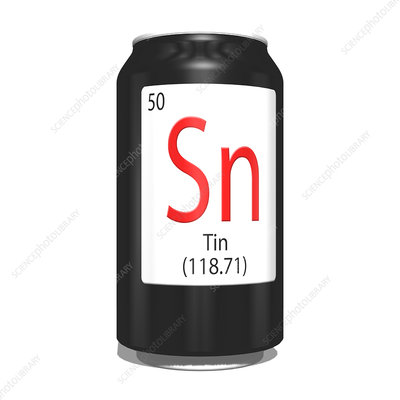 Tin, chemical symbol and can
