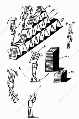 Workers assembling house of cards, illustration