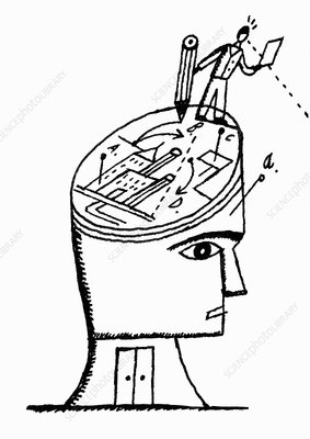 Man drawing plans on head, illustration
