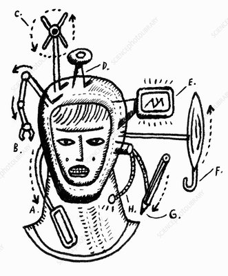 Robot head with gadgets, illustration