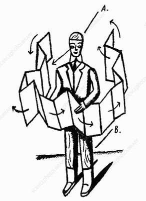 Businessman opening large piece of paper, illustration