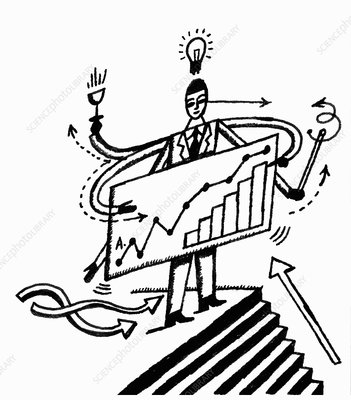 Businessman at top of steps holding graph, illustration