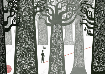 Man lost in woods, illustration