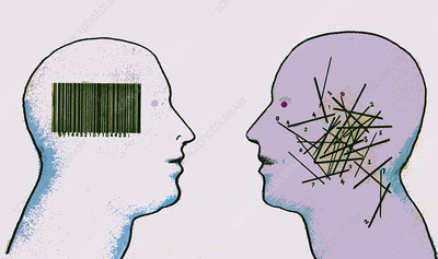 Organized and disorganized barcode in heads, illustration