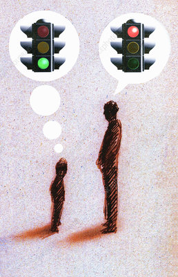 Green light and stoplight in speech bubbles, illustration