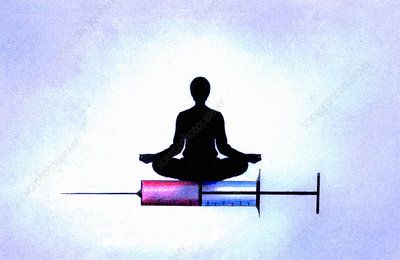 Woman in lotus position on hypodermic needle, illustration
