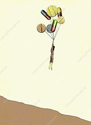 Woman hanging from pill and capsule balloons, illustration
