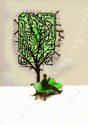Man using cell phone below circuit board tree, illustration