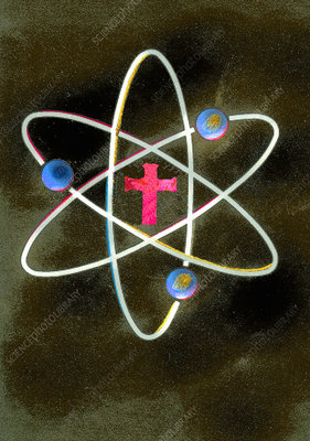 Cross at the centre of atom symbol, illustration