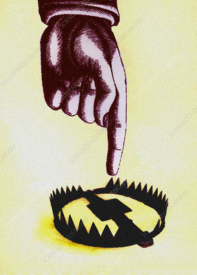 Finger pointing towards open trap, illustration