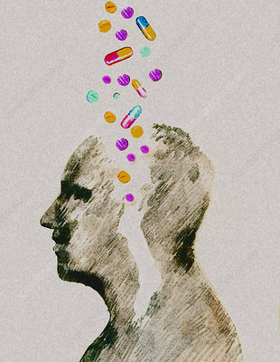 Assorted pills falling into man's head, illustration