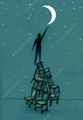 Man on stacked chairs reaching for moon, illustration