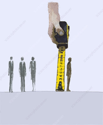Business people measured by tape, illustration