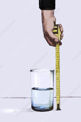 Man measuring water with tape measure, illustration