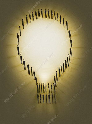 People outlining illuminated light bulb, illustration