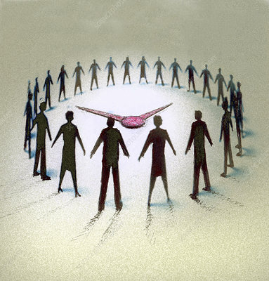 Business people forming circle watching clock, illustration