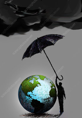 Businessman protecting globe with umbrella, illustration