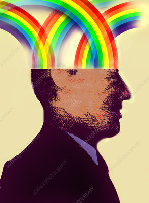 Businessman with rainbows inside of head, illustration