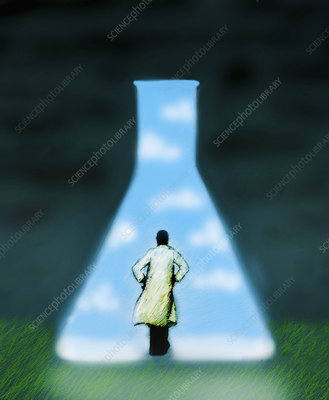 Scientist looking at flask containing sky, illustration