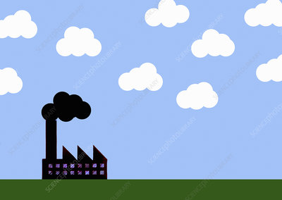 Factory chimney with black cloud, illustration