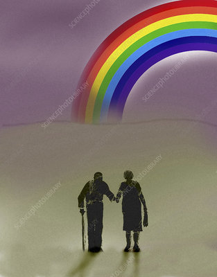 Elderly couple walking towards rainbow, illustration