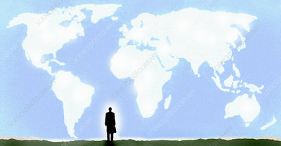 Businessman looking at world map clouds in sky, illustration