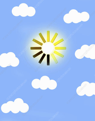 Sun in blue sky as computer loading symbol, illustration