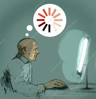 Senior man using desktop computer, illustration