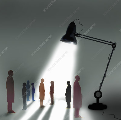 Business people standing out from the crowd, illustration