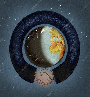 Arms shaking hands surrounding the globe, illustration