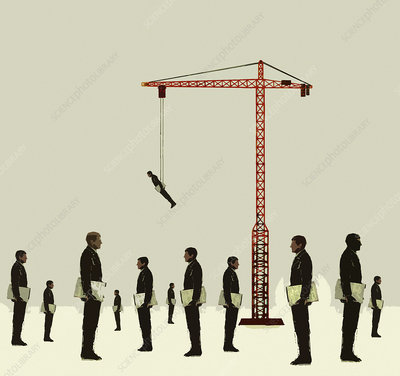 Crane lifting businessman above the crowd, illustration