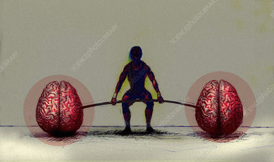 Man exercising with human brain barbell, illustration