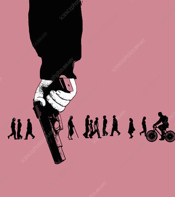 People unaware of man holding gun, illustration