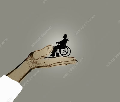 Hand supporting man in wheelchair, illustration
