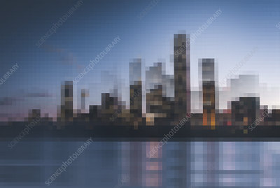 Pixelated cityscape on waterfront, illustration
