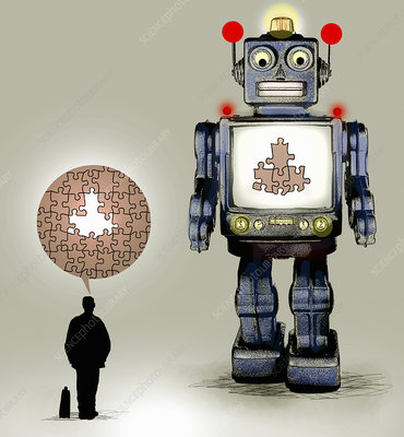 Robot with missing pieces of jigsaw puzzle, illustration