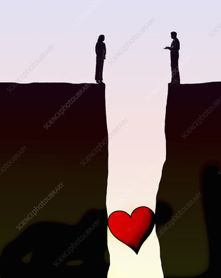Heart stuck in gap between couple, illustration