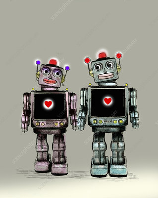 Two robots falling in love, illustration