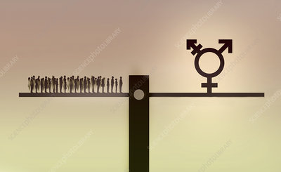 People on seesaw with transgender symbol, illustration