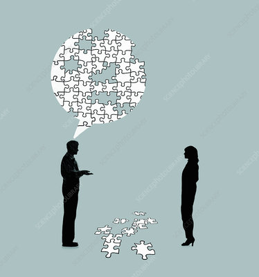 Man explaining problem to woman, illustration