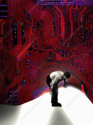 Man lifting up and looking under circuit board, illustration