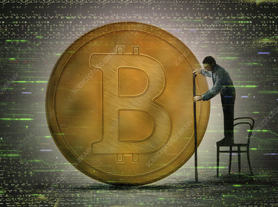 Man measuring size of bitcoin, illustration