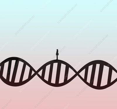 Woman standing on DNA double helix, illustration