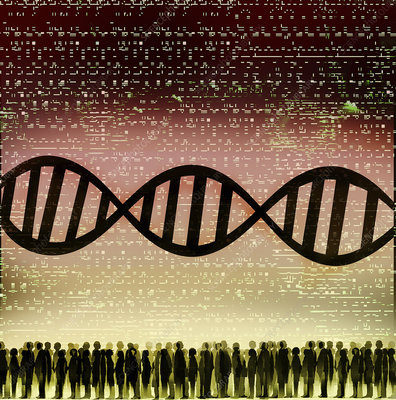 DNA double helix, coding and crowd of people, illustration