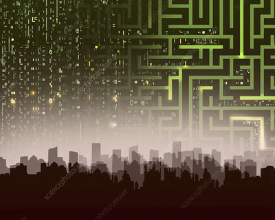 Maze and computer coding over city skyline, illustration