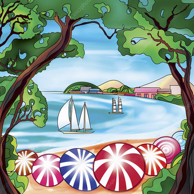 Beach umbrellas and sailboats in bay, illustration
