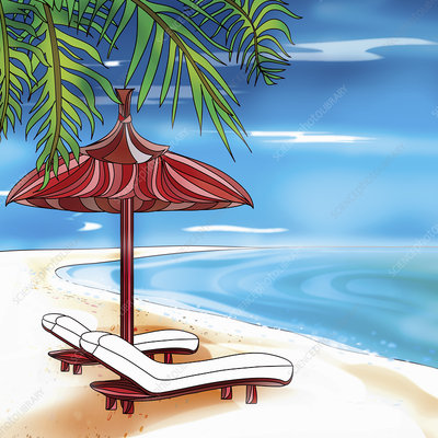 Empty sun loungers on deserted beach, illustration