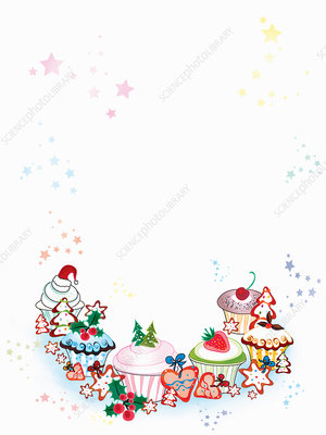 Blank invitation with Christmas cookies, illustration