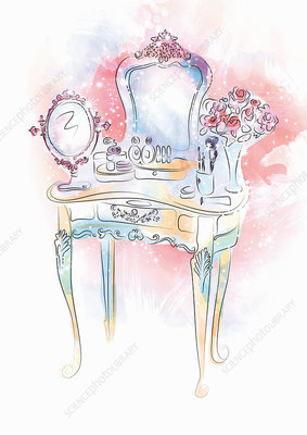 Makeup on vanity table with mirror, illustration